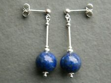 Smooth Round Blue Lapis Lazuli Gemstones, 925 Sterling Silver Stud Drop Earrings