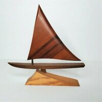 Vintage Mid Century Modern Wooden Sailboat Wood Boat Nautical Beach Decor MCM