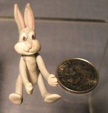 Fimo Sculpey poly clay dollhouse artisan miniature figurine Bugs Bunny rabbit