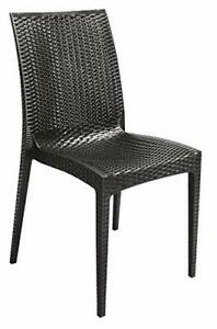 Grand Soleil Rattan Bistrot Indoor Outdoor Dining Chairs Stackable Strong Pair