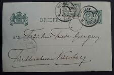 1905 Netherlands Stamped Postcard with extra Numeral stamp canc Borne