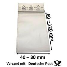 Druckverschlussbeutel Zip Lock Beutel Baggies - 50mµ - Größe und Menge wählbar