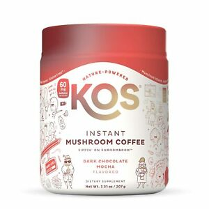 KOS Instant MUSHROOM COFFEE Dark Chocolate Mocha REISHI Cordyceps CHAGA 9oz 4/23