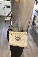 Michael Kors Fulton MK Logo Signature PVC Vanilla Crossbody Messenger Bag Wallet