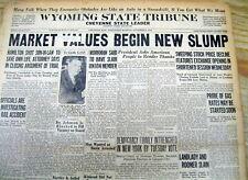<1929 hdlne newspaper STOCKS FALL as STOCK MARKET CRASH Great Depression Begins