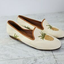 Zalo Tapestry Loafers Pineapple Print Leather Sole Made in Brazil Womens 6.5M