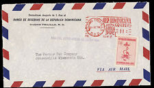 Dominican Republic 1956 Airmail Red Meter Cover Postal Tax Stamp to USA
