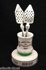 Enamel Absinthe Spoon Match Holder Strike w/ 2 Spoons