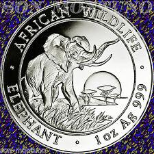2009 Somalia African Wildlife Elephant 1 Troy Oz .999 Silver Bu Coin in Capsule