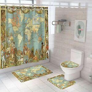 Map Series Shower Curtain Bathroom Rug Set Bath Mat Non-Slip Toilet Lid Cover