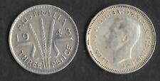 AUSTRALIA 1943 M  KING GEORGE VI SILVER THREEPENCE COIN
