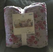 Simply Shabby Chic Purple Rose Quilted Full/Queen Quilt Linen/Cotton Blend New!