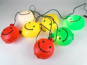 7 Vintage Smiley Face Patio Party Lights Blow Mold String Lights Camper RV 13Ft.