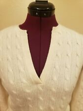 Ralph Lauren Black Label Ivory 100% Cashmere Cable Knit Split Neck Sweater SZ M