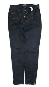 Lucky Brand Women's Moto Jean Low Rise Faded Black Jeans 4/27 Zip Ankle