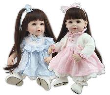 "Bebe Reborn Toddlers Dolls Twins Sister Girl 20"" 2pcs Realistic Lifelike Newborn"