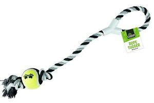 GREY Dog Rope Ball Play Tennis Throw Tugger Pet LARGE Toy Fetch Chew Puppy NEW