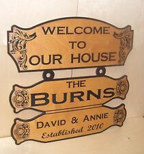 Personalized Custom Wood Sign WELCOME TO OUR  HOUSE Birch.Laser engraved.Gift.