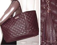 BCBG Paris QUILTED faux PEBBLED LEATHER Bag TOTE Purse Merlot Burgundy $195