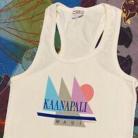 Vintage 90s Kaanapali Maui Hawaii Tank Top T Shirt Adult XS S White USA Rare