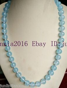 Natural 10mm Blue Linght Aquamarin Gemstone Round Necklace Beads Long 28 Inch