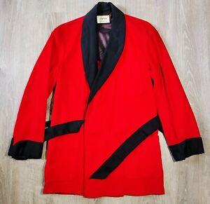 Vintage 50s Roytex Red Corduroy Smoking Jacket Vtg 1950s Lounge Robe EUC Mens M