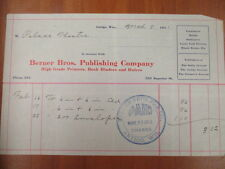 Vintage movie letterhead Berner Bros. publishing co Antigo advertising 3-8-1911