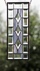 """Gray/Black/Clear-Beveled Stained Glass Window Panel,Hanging ≈ 7 1/2 x 19 1/2"""""""