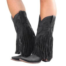 Ladies Mid-calf Med Block Heel Fringed Casual Ethnic Clubwear Party Comboy Boots