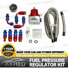 Red Universal Adjustable Fuel Pressure Regulator KIT + 100psi Guage AN 6 Fitting