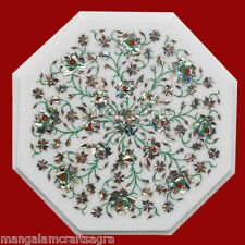 "15"" White Marble Coffee Table Top Handicraft Pietra dura Art Home Decor"