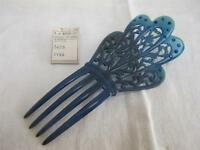 VINTAGE 1920's ART DECO TURQUOISE BLUE CELLULOID & RHINESTONE HAIR COMB