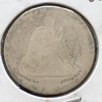 1860 O Seated Liberty Quarter 25c Circulated Damaged #2740