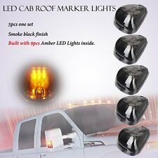 New 5pcs Amber Smoked Roof Cab Marker Running LED Lights for SUV Off Road 4x4