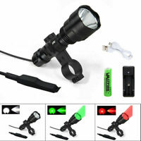 """Tactical LED Flashlight Lamp Torch 6000LM Gun Scope Hunting 1"""" Air Rifle Mount"""