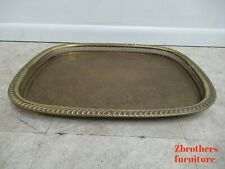 Vintage Brass Etch Pierced Carved Serving tray Coffee Table Top mid Century
