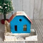 Christmas Putz Blue Cottage Mica Cardboard House Ornament True Vintage Japan