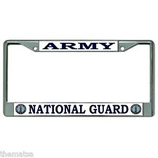 ARMY NATIONAL GUARD LOGO  CHROME LICENSE PLATE FRAME MADE IN USA