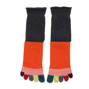 Women Mens Five Finger Socks Midcalf Tube Cotton Toe Socks - Rainbow Colors