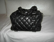 CHANEL BLACK QUILTED DISTRESSED LEATHER LADY BRAID SMALL TOTE BAG HANDBAG