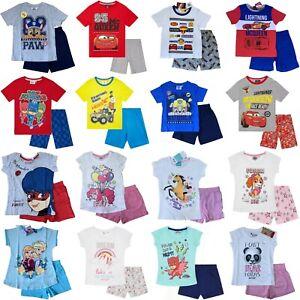 Boys Girls Kids Children Pyjamas Short Sleeve T-Shirt Shorts Set Age 2-12 Years