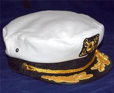 NAUTICAL MARINE NAVIGATION Captain ANCHOR NAVY Unisex White YACHT CAP HAT New