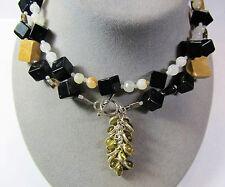 2 Pc Lot Toggle Clasp Necklaces Stone Desert Jasper White Jasper Black Lacquer