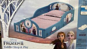 NIB Toddler Bed Girls Disney Frozen 2 Anna & Elsa Plastic Kids Bedroom Furniture