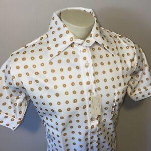 NEW Vtg 50s 60s Mens Large Polyester Shirt retro Midcentury Disco Polka Dot NOS