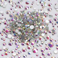 AB Color Crystal Rhinestones Flat Bottom Multi-Size 3D Nail Decoration Manicure