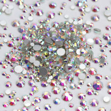 AB Color Crystal Rhinestones Flat Bottom Multi-Size 3D Nail Decoration Manicure