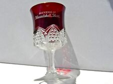 "1900 MUSSELSHELL MONTANA MT RARE ANTIQUE CRANBERRY GLASS ""WINE GOBLET"" SOUVENIR"