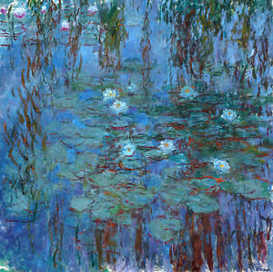 Blue Water Lilies by Claude Monet A1+ High Quality Art Print