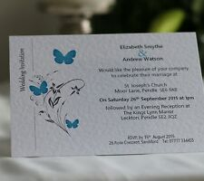 50 Personalised Wedding Invitations Day Evening with Envelope Butterfly